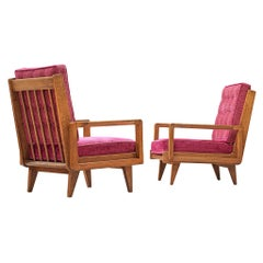Pair of Armchairs in Oak and Fuchsia Upholstery by Guillerme & Chambron