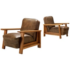 Pair of Armchairs in Oak and Leatherette
