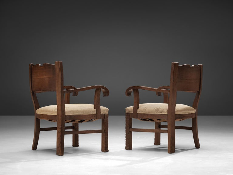 Art Deco Pair of Armchairs in Oak by Ernesto Valabrega For Sale
