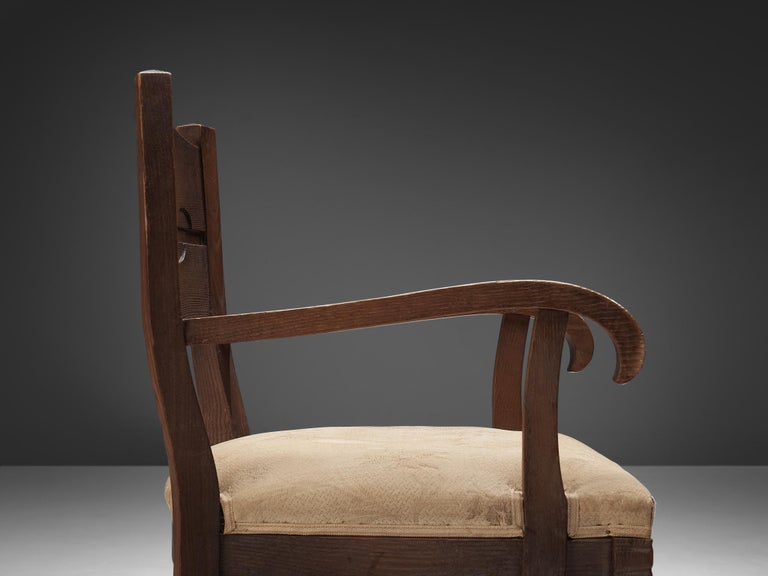 Italian Pair of Armchairs in Oak by Ernesto Valabrega For Sale