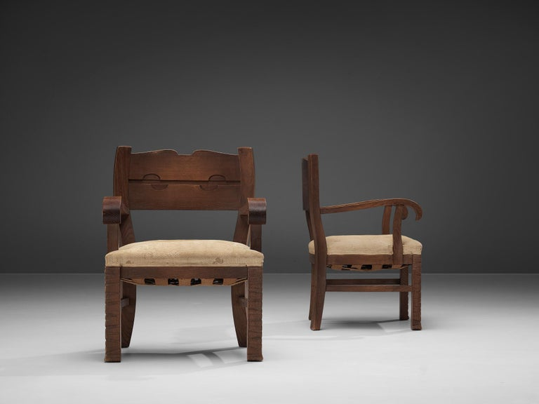Mid-20th Century Pair of Armchairs in Oak by Ernesto Valabrega For Sale