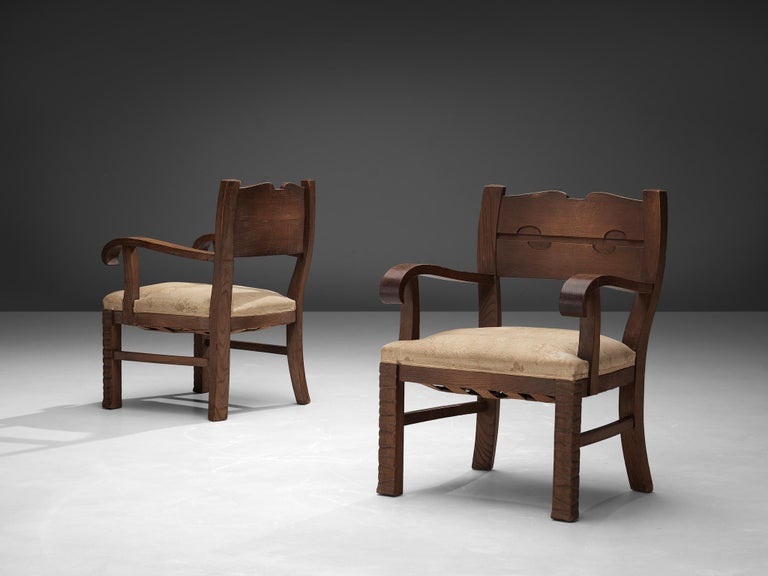 Fabric Pair of Armchairs in Oak by Ernesto Valabrega For Sale