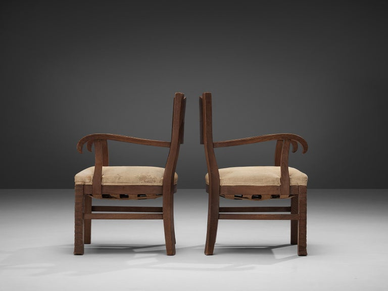 Pair of Armchairs in Oak by Ernesto Valabrega For Sale 1