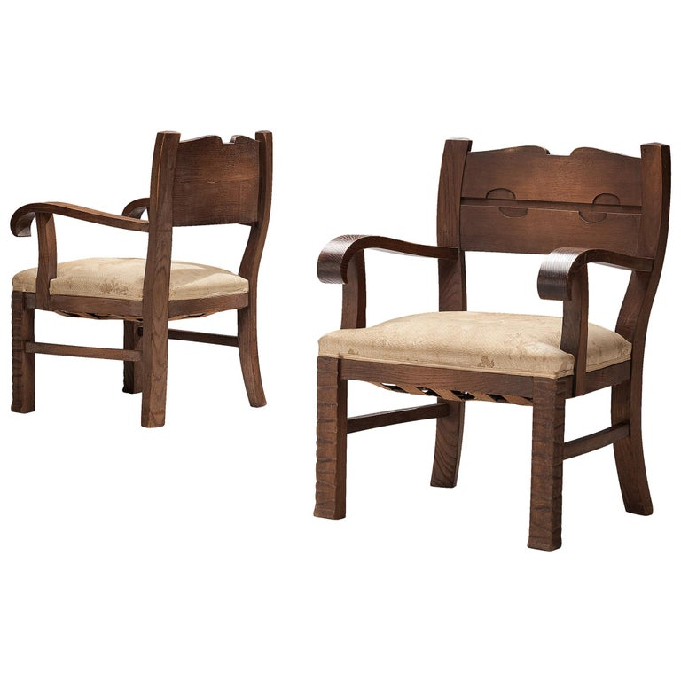 Pair of Armchairs in Oak by Ernesto Valabrega For Sale