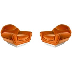 Pair of Armchairs in Orange Fabric, 1970