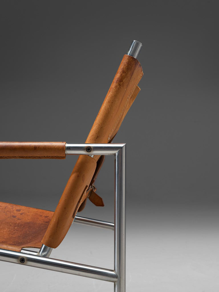 Pair of Armchairs in Patinated Cognac Leather by Martin Visser For Sale 3