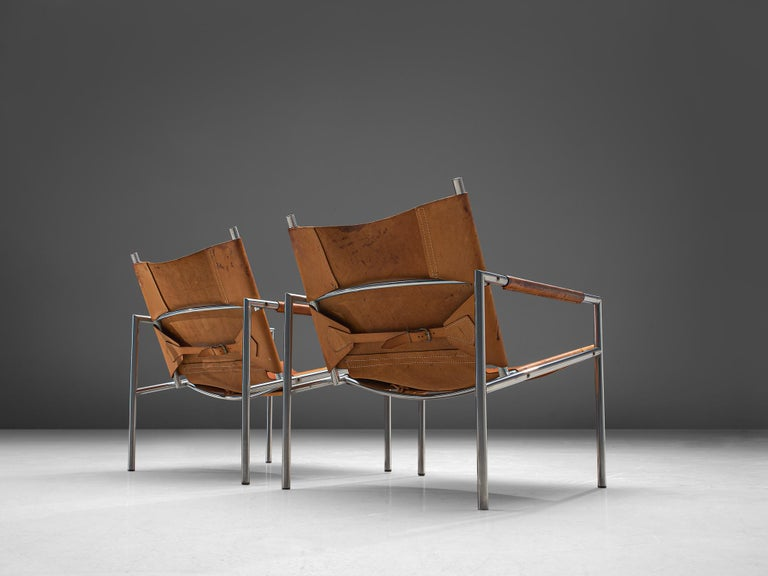 Dutch Pair of Armchairs in Patinated Cognac Leather by Martin Visser For Sale