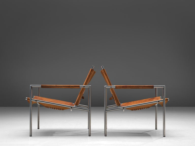 Pair of Armchairs in Patinated Cognac Leather by Martin Visser In Good Condition For Sale In Waalwijk, NL