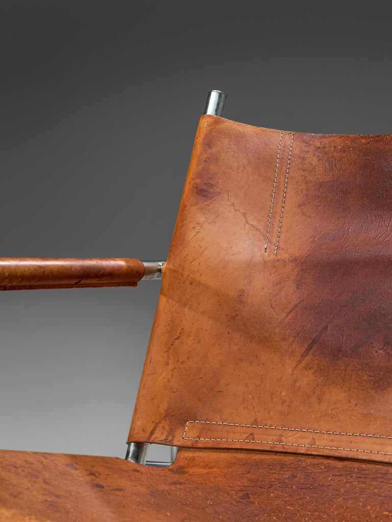 Metal Pair of Armchairs in Patinated Cognac Leather by Martin Visser For Sale