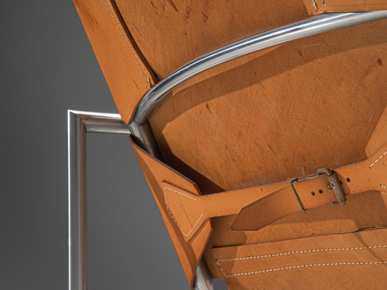 Pair of Armchairs in Patinated Cognac Leather by Martin Visser For Sale 2
