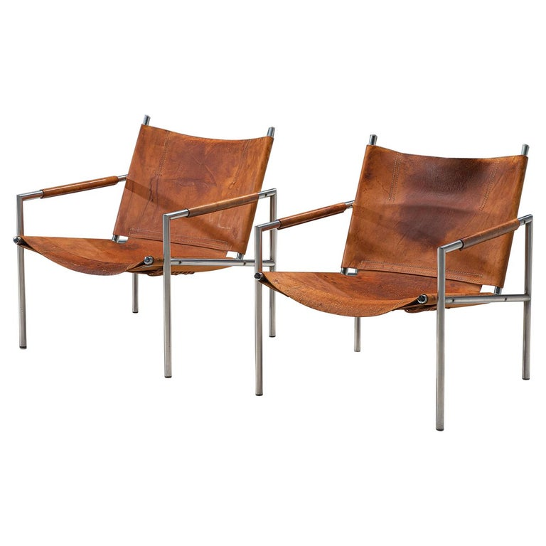 Pair of Armchairs in Patinated Cognac Leather by Martin Visser For Sale