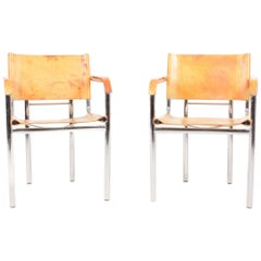 Pair of Armchairs in Patinated Leather, 1980s