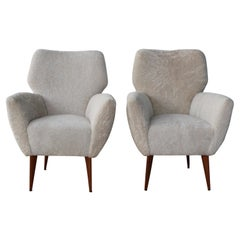 Pair of Shearling Armchairs Attributed to Gio Ponti, Italy, 1950s