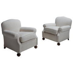 Pair of Armchairs in Textured Wool Blend, England, circa 1930