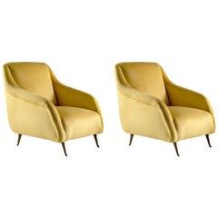 Pair of Armchairs in the Style of Carlo de Carli Italian Design, circa 1950