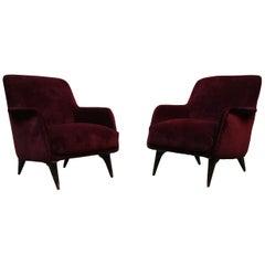 Purple Velvet Armchairs, Carlo de Carli for Cassina, Italy 1950