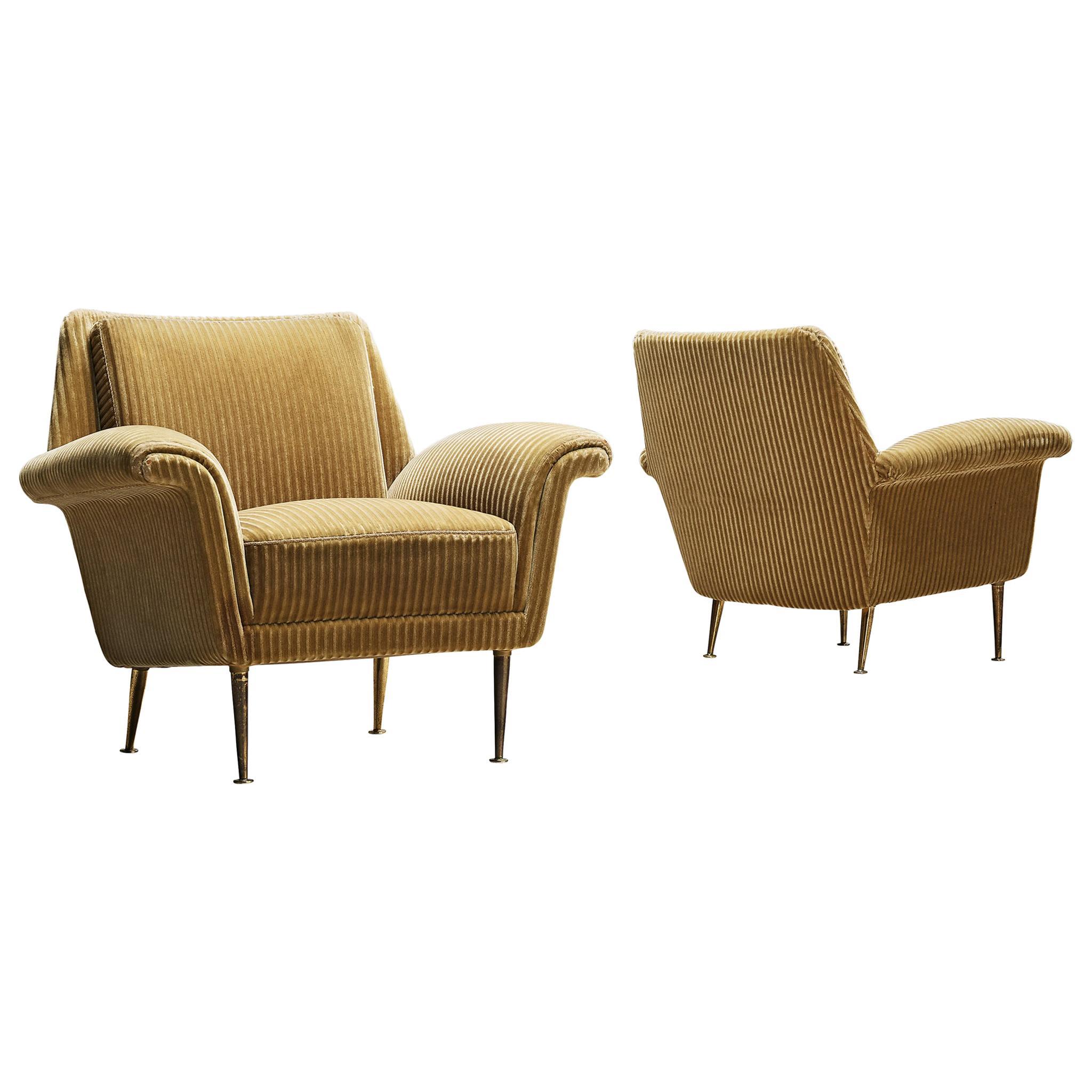 Pair of Armchairs in Velvet Upholstery