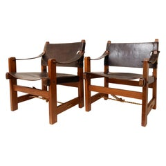 Pair of Armchairs in Wood and Brown Leather