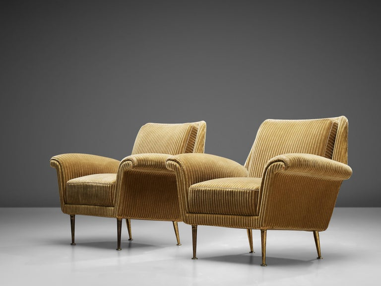 Metal Pair of Armchairs in Yellow Velvet Upholstery For Sale