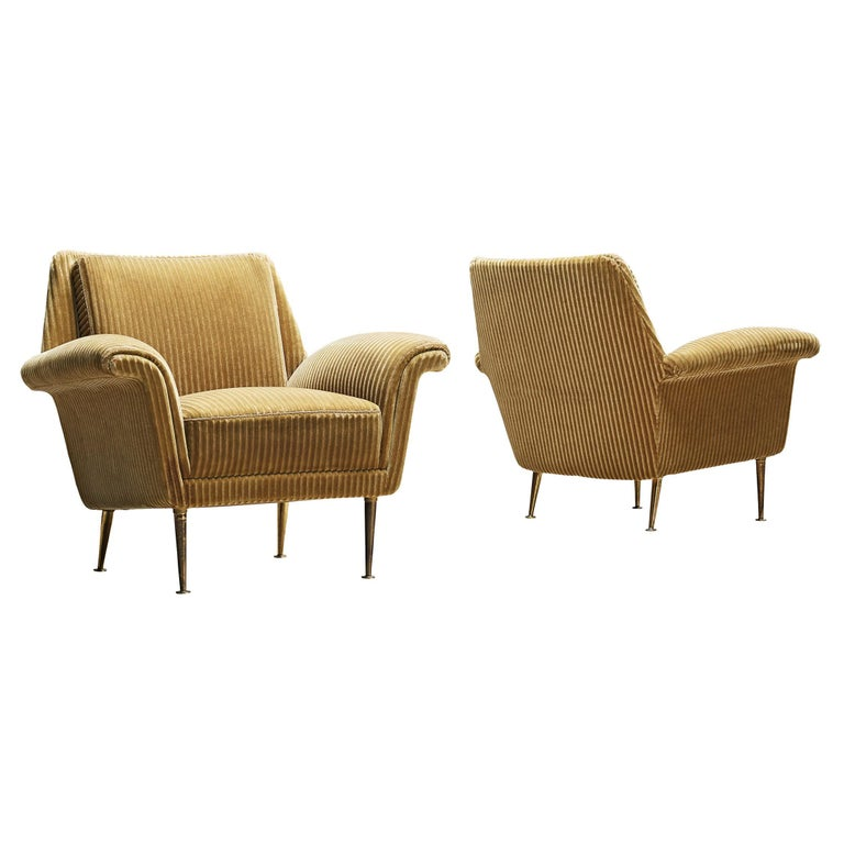 Pair of Armchairs in Yellow Velvet Upholstery For Sale
