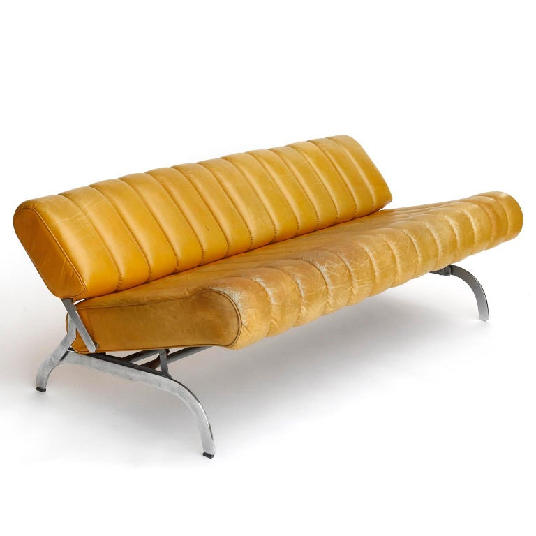 Pair of Armchairs Karl Wittmann Independence, Yellow Leather, Austria, 1970s For Sale 5