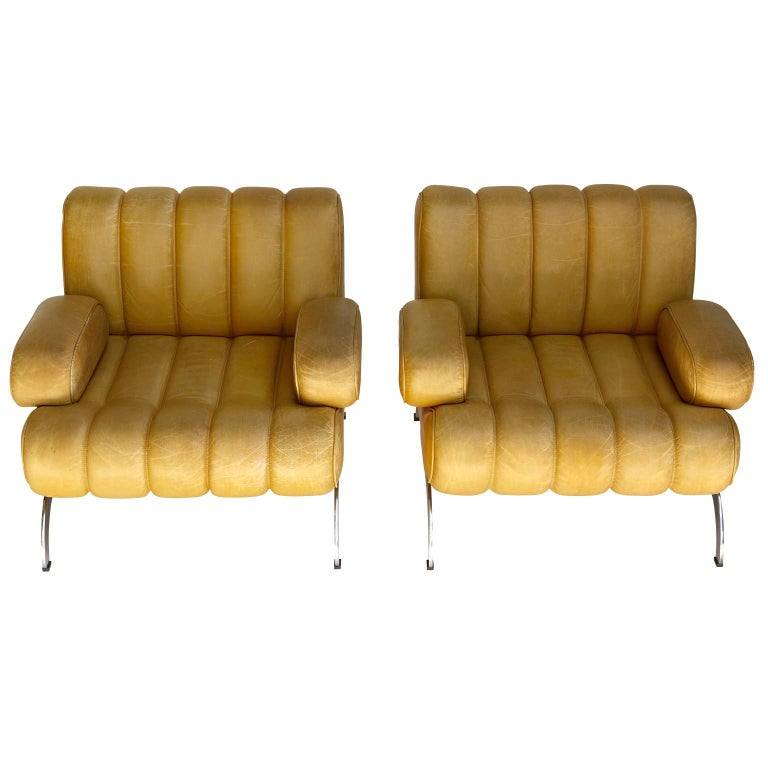Mid-Century Modern Pair of Armchairs Karl Wittmann Independence, Yellow Leather, Austria, 1970s For Sale