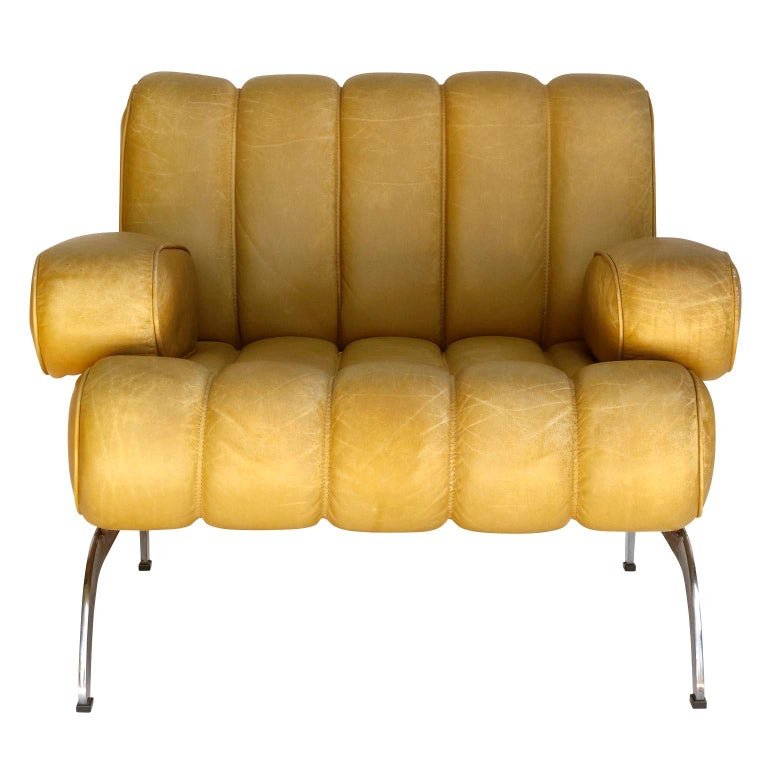Austrian Pair of Armchairs Karl Wittmann Independence, Yellow Leather, Austria, 1970s For Sale