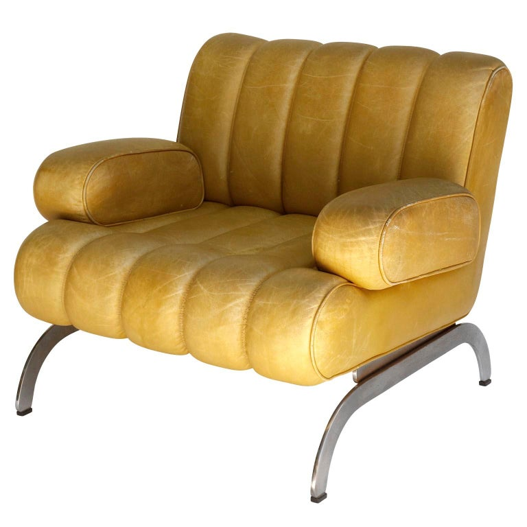 Pair of Armchairs Karl Wittmann Independence, Yellow Leather, Austria, 1970s In Good Condition For Sale In Graz, AT