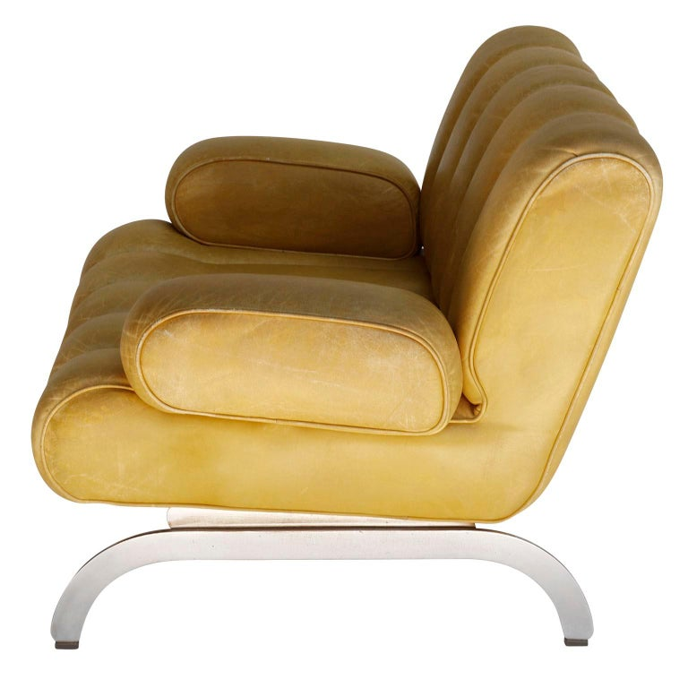 Late 20th Century Pair of Armchairs Karl Wittmann Independence, Yellow Leather, Austria, 1970s For Sale