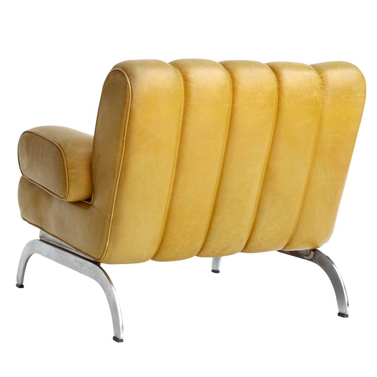 Metal Pair of Armchairs Karl Wittmann Independence, Yellow Leather, Austria, 1970s For Sale