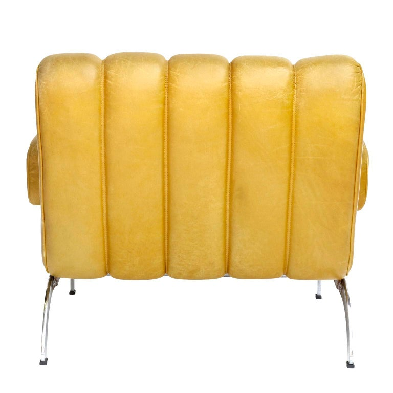 Pair of Armchairs Karl Wittmann Independence, Yellow Leather, Austria, 1970s For Sale 1