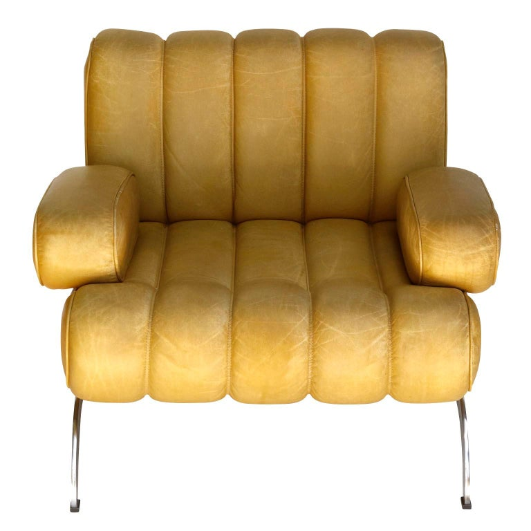 Pair of Armchairs Karl Wittmann Independence, Yellow Leather, Austria, 1970s For Sale 2