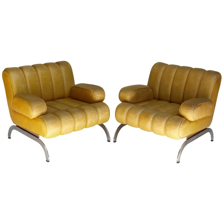Pair of Armchairs Karl Wittmann Independence, Yellow Leather, Austria, 1970s For Sale