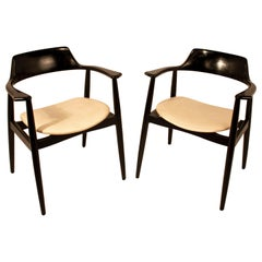 Pair of Armchairs, Lacquered Wood in Black, White Skay Seat, AG Spain 1960s