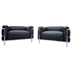 Pair of Armchairs LC3, Le Grand Confort, Le Corbusier for Cassina