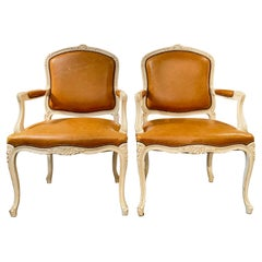 Pair of Armchairs, Louis XV Montespan Style, Soft Caramel/Tan Leather