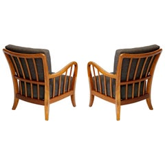 Pair of Armchairs Lounge Chairs Wood, Attributed to Josef Frank, Thonet, 1940