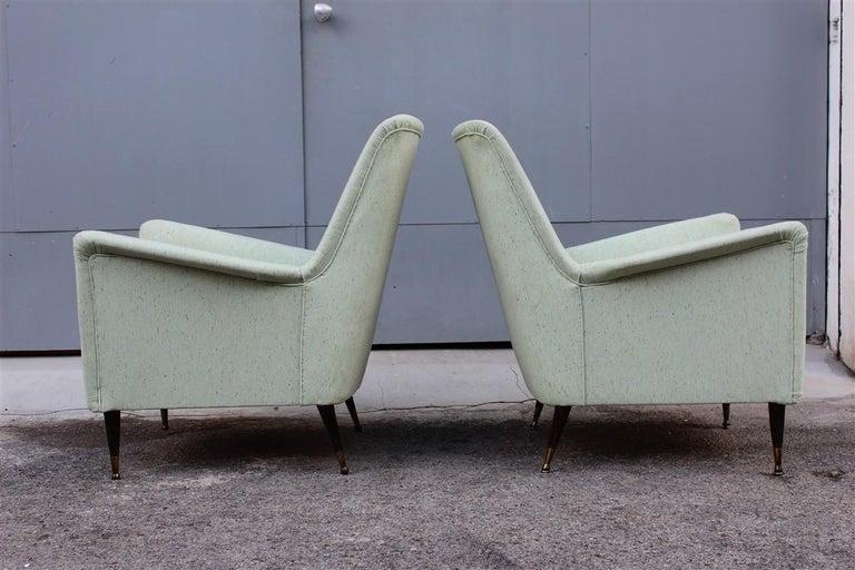 Pair of Armchairs Midcentury Italian Design Wood Feet Brass Green Gio Ponti For Sale 6
