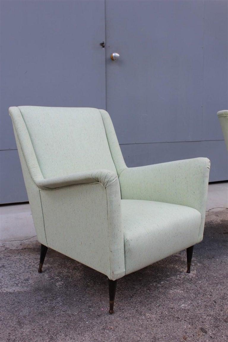 Mid-Century Modern Pair of Armchairs Midcentury Italian Design Wood Feet Brass Green Gio Ponti For Sale