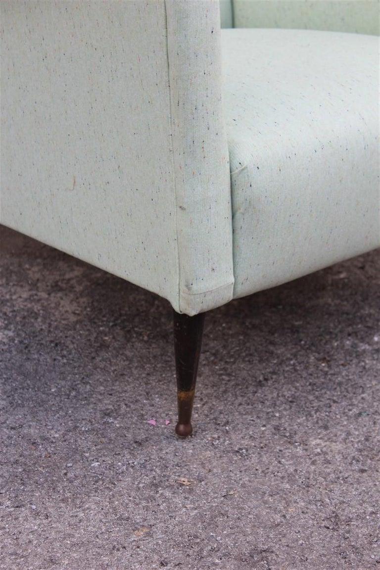 Mid-20th Century Pair of Armchairs Midcentury Italian Design Wood Feet Brass Green Gio Ponti For Sale