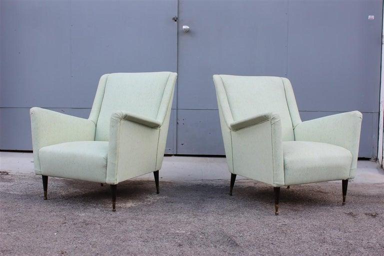 Pair of Armchairs Midcentury Italian Design Wood Feet Brass Green Gio Ponti For Sale 3