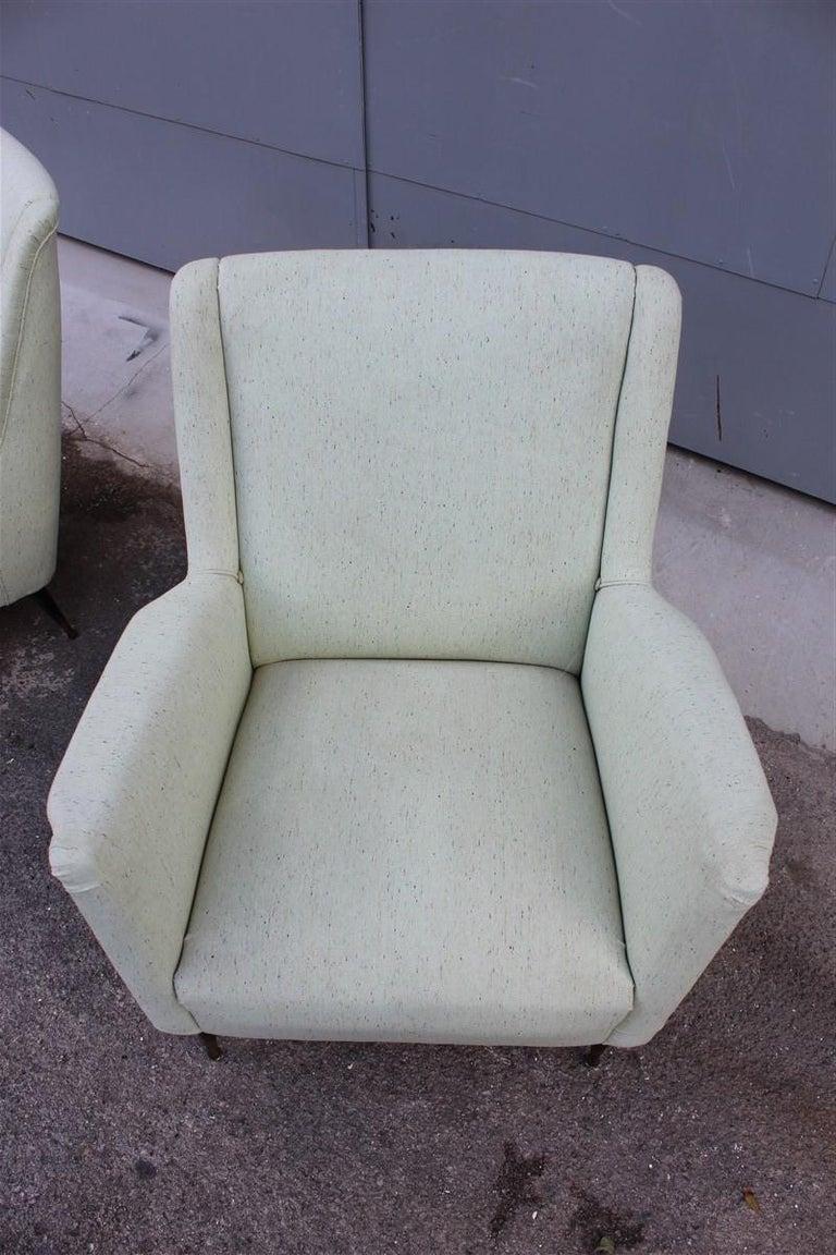 Pair of Armchairs Midcentury Italian Design Wood Feet Brass Green Gio Ponti For Sale 4