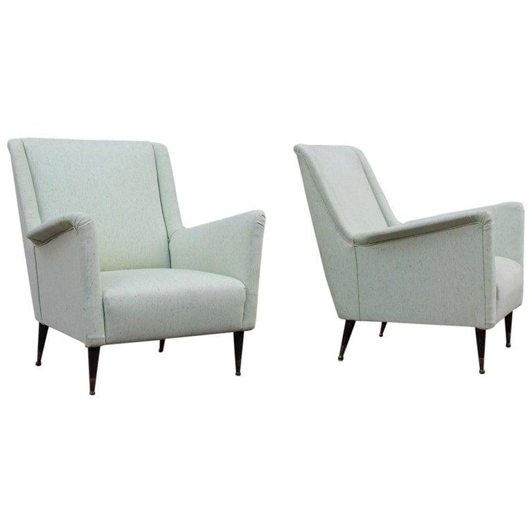 Pair of Armchairs Midcentury Italian Design Wood Feet Brass Green Gio Ponti For Sale