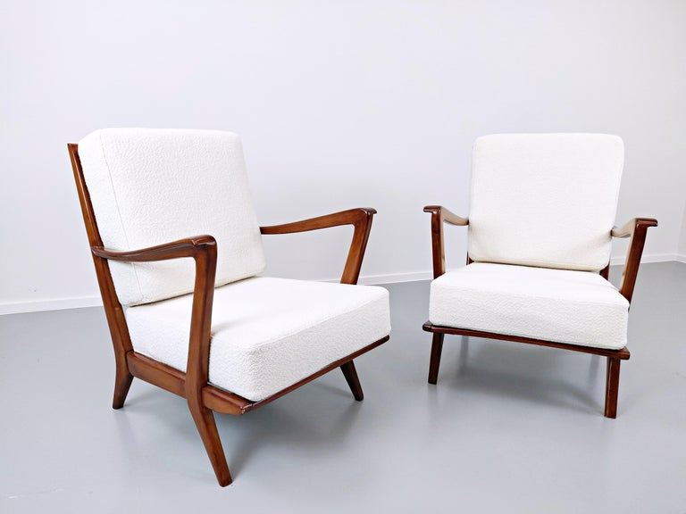 Mid-Century Modern Pair of Armchairs Model 516 by Gio Ponti for Cassina, 1950s For Sale