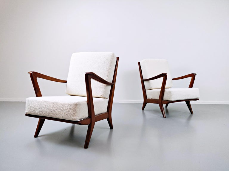 Pair of Armchairs Model 516 by Gio Ponti for Cassina, 1950s In Good Condition For Sale In Brussels, BE