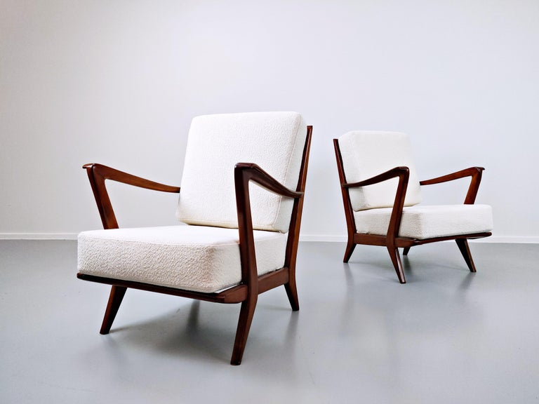 Mid-20th Century Pair of Armchairs Model 516 by Gio Ponti for Cassina, 1950s For Sale