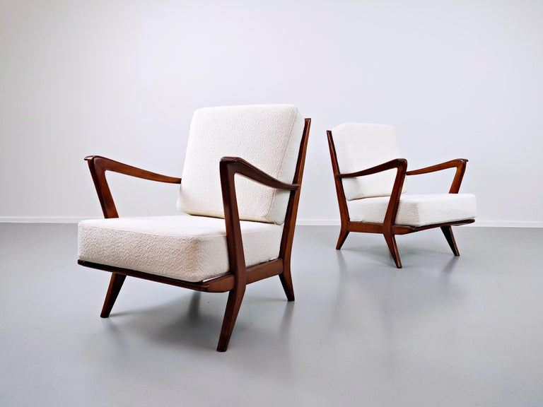 Wood Pair of Armchairs Model 516 by Gio Ponti for Cassina, 1950s For Sale