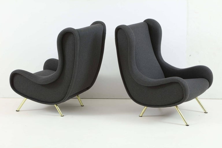 Pair of armchairs model 'Senior' designed by Marco Zanuso and edited by Arflex. They have been reupholstered in grey wool.