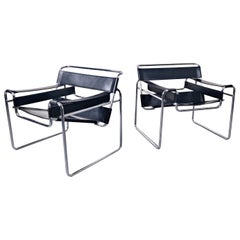 Pair of Mid-Century Modern Armchairs Model Wassily by Marcel Breuer
