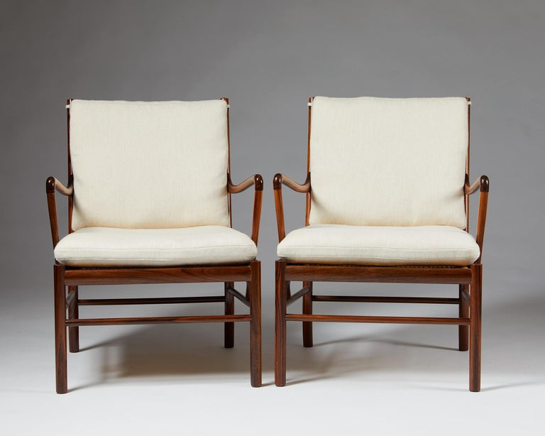 """Scandinavian Modern Pair of Armchairs, PJ 149, """"Colonial"""", Designed by Ole Wanscher for P. Jeppesen For Sale"""